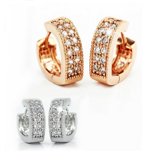 Carlotta - Rhinestone Rose Gold / Platinum Heart Shaped Stud Earrings - LA MIA CARA JEWELRY - 1