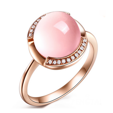 Cocktail Ring - Carpe Diem - Brazil Rose Quartz Diamond Rose Gold  - LA MIA CARA JEWELRY