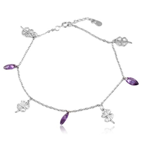 Cassiopea - Purple CZ Diamonds Sterling Silver Anklet - LA MIA CARA JEWELRY