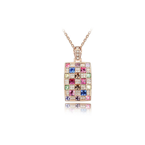 Chakira - Multi Color Swarovski Crystals Rose or White Gold Necklace - LA MIA CARA JEWELRY - 1