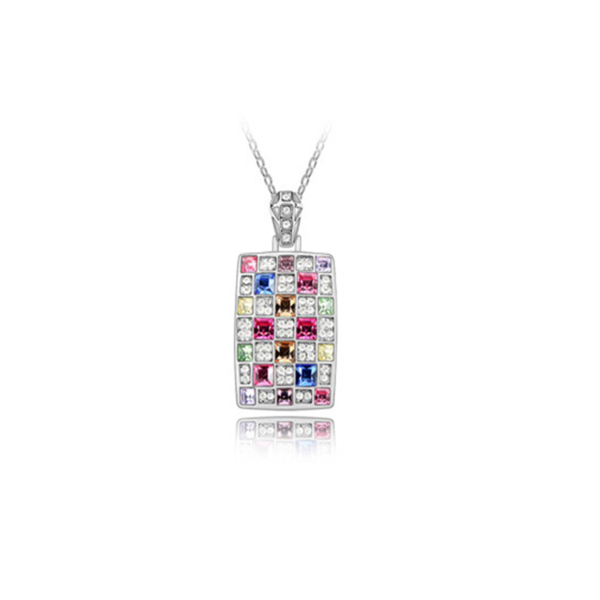 Chakira - Multi Color Swarovski Crystals Rose or White Gold Necklace - LA MIA CARA JEWELRY - 4