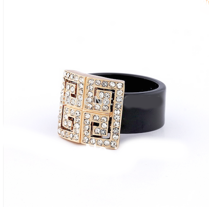 Cocktail Ring - Chiave Greco -  Crystal Rose Gold or Platinum  - LA MIA CARA JEWELRY - 1