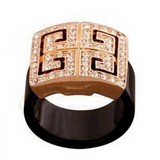 Cocktail Ring - Chiave Greco -  Crystal Rose Gold or Platinum  - LA MIA CARA JEWELRY