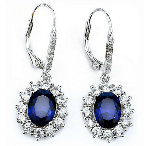 Cinzia - Blue-Sapphire CZ Diamonds Sterling Silver Flower Earrings - LA MIA CARA JEWELRY - 1