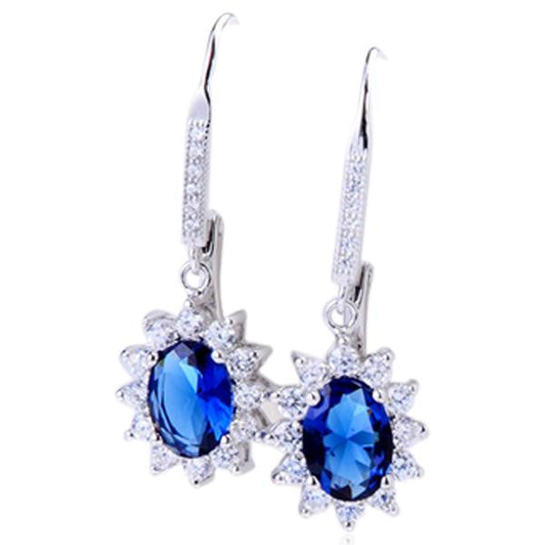 Cinzia - Blue-Sapphire CZ Diamonds Sterling Silver Flower Earrings - LA MIA CARA JEWELRY - 2