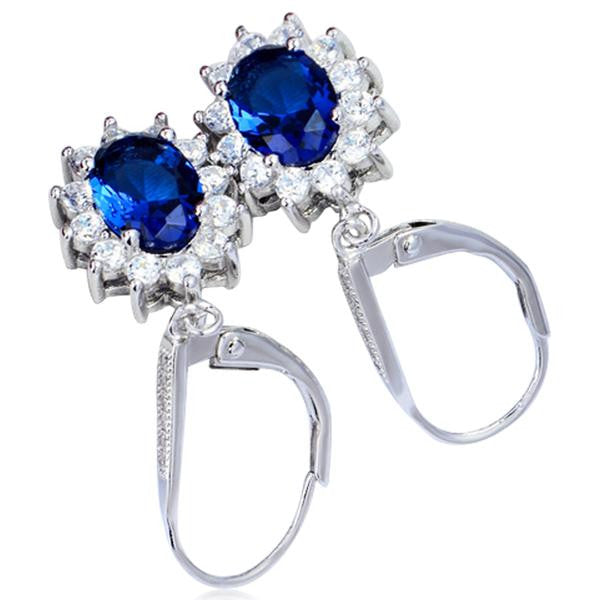 Cinzia - Blue-Sapphire CZ Diamonds Sterling Silver Flower Earrings - LA MIA CARA JEWELRY - 3