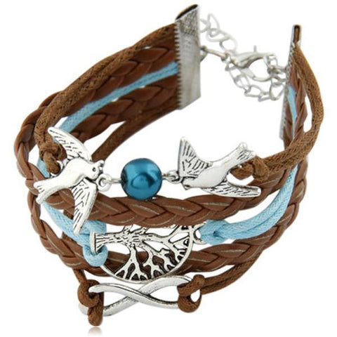 Colomba Della Pace  -  Multilayer Leather Charm Bracelet - LA MIA CARA JEWELRY