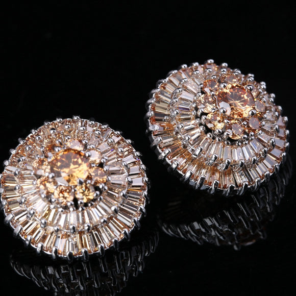 La Mia Cara Jewelry - Cosmic Sun - Orange Topaz Stud Earrings in 925 Sterling Silver