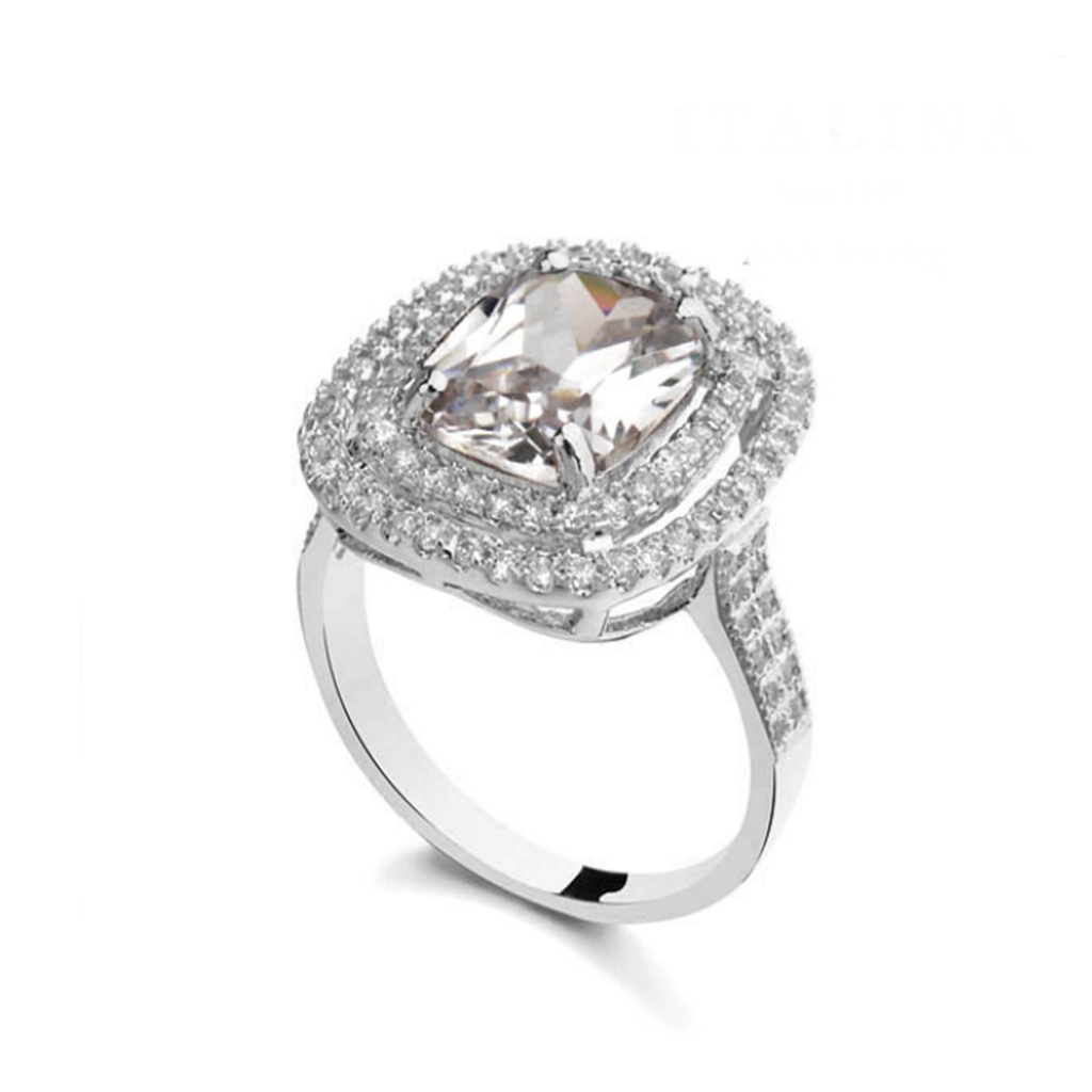 Cocktail Ring - Concetta - CZ Diamond Platinium / Rose Gold Cocktail Ring - LA MIA CARA JEWELRY