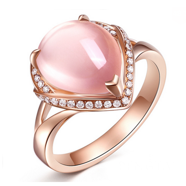 Cocktail Ring  - Contessa -  Brazil Rose Quartz Diamond Rose Gold - LA MIA CARA JEWELRY
