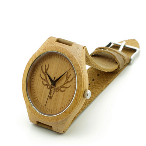 Corna - Wood Bamboo with Antler Design  Leather Wristwatch - LA MIA CARA JEWELRY