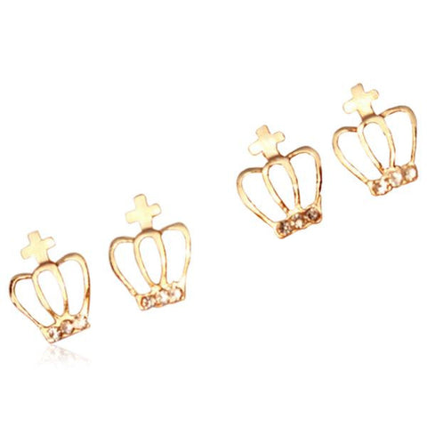 Corona - CZ Diamond Gold Crown Stud Earrings - LA MIA CARA JEWELRY