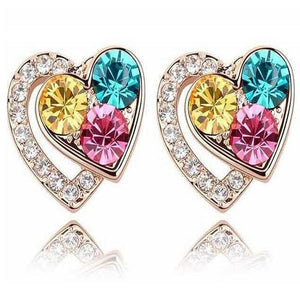 Dariella - Rhinestone Crystals Heart Shape Stud Earrings - LA MIA CARA JEWELRY - 1