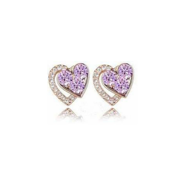 Dariella - Rhinestone Crystals Heart Shape Stud Earrings - LA MIA CARA JEWELRY - 2