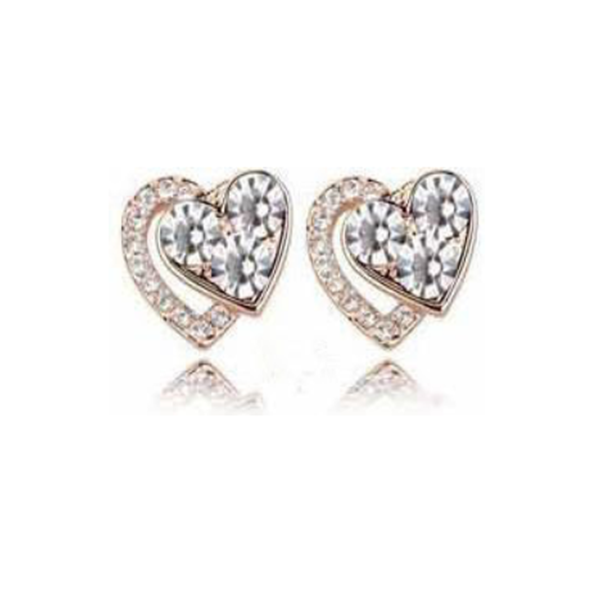 Dariella - Rhinestone Crystals Heart Shape Stud Earrings - LA MIA CARA JEWELRY - 4