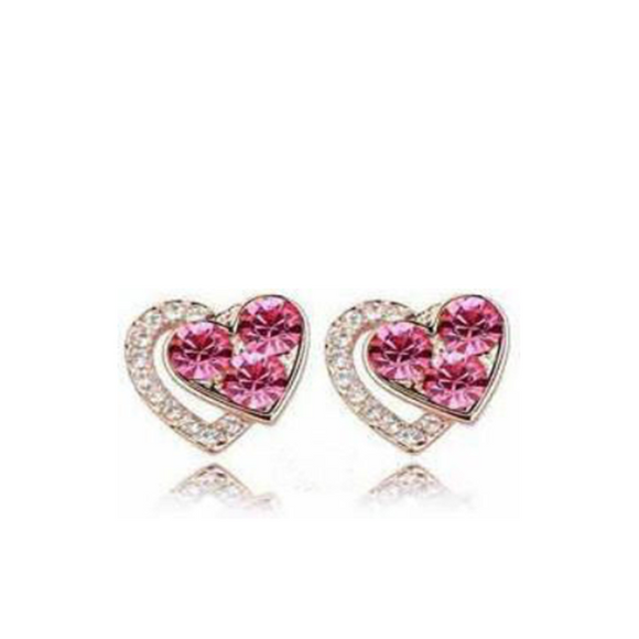 Dariella - Rhinestone Crystals Heart Shape Stud Earrings - LA MIA CARA JEWELRY - 5