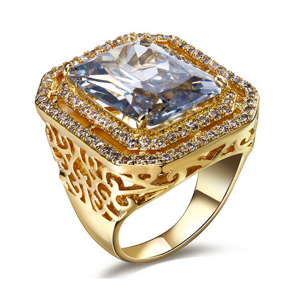 Cocktail Ring - Davina - CZ Diamond Platinum / Gold  - LA MIA CARA JEWELRY