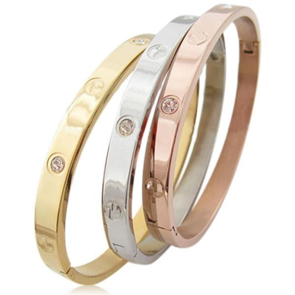 Discrète - 3 Colors Stainless Steel Titanium with or without Crystals Men & Women - LA MIA CARA JEWELRY