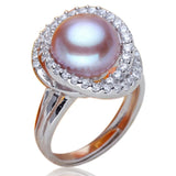Cocktail Ring- Perla Dolce Vita- Freshwater Pearl CZ Diamond White Gold Ring - LA MIA CARA JEWELRY