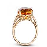 Dolcezza - Citrine Diamond Yellow Gold Cocktail Ring - LA MIA CARA JEWELRY - 2