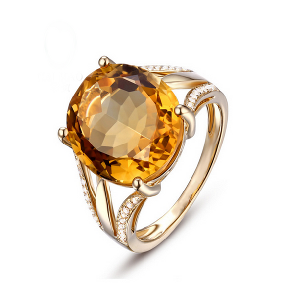 Dolcezza - Citrine Diamond Yellow Gold Cocktail Ring - LA MIA CARA JEWELRY - 1