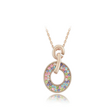 Domenica - Swarovski Crystal Circle Gold Necklace - LA MIA CARA JEWELRY - 3