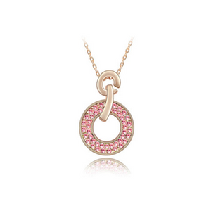 Domenica - Swarovski Crystal Circle Gold Necklace - LA MIA CARA JEWELRY - 1