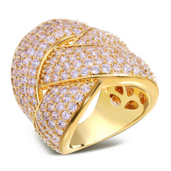 Cocktail Ring -Donabella - CZ Diamond Platinum / Gold  - LA MIA CARA JEWELRY - 1
