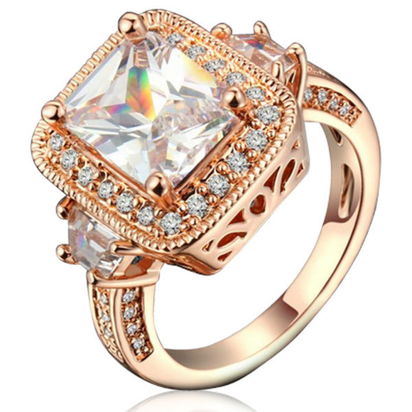 Cocktail Ring  -CZ Diamond Silver / Rose Gold - LA MIA CARA JEWELRY
