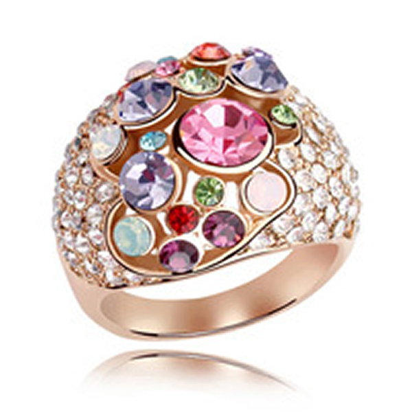 Cocktail Ring Donatella - Swarovski Crystals Rose Gold  - LA MIA CARA JEWELRY