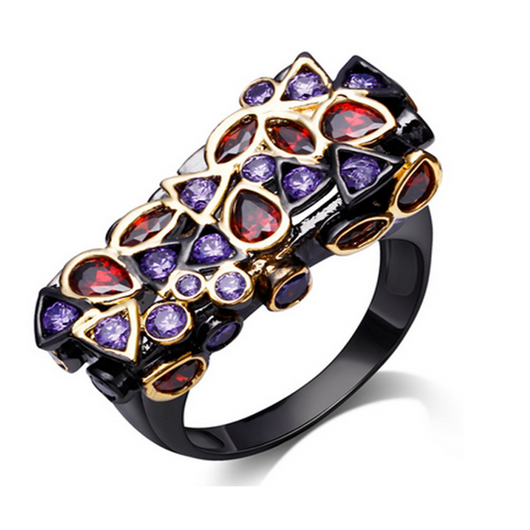 Cocktail Ring - Eclectic - CZ Diamonds IP Black Gold  - LA MIA CARA JEWELRY