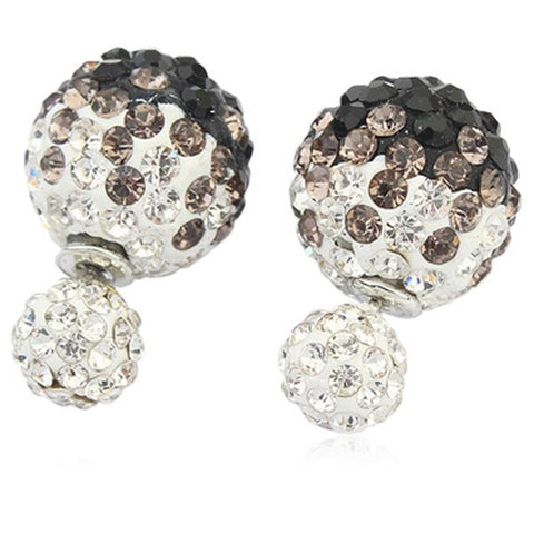 Eliana - Pearl Ball White Gold Stud Earring - LA MIA CARA JEWELRY - 4
