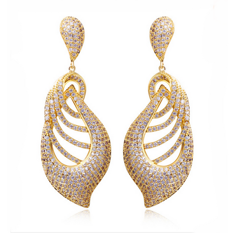 Elisa - CZ Diamonds Gold / Silver Long Drop Earrings - LA MIA CARA JEWELRY - 1