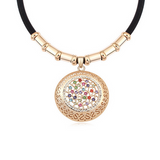 Emiliana - Swarovski Crystal Gold Disc Choker Necklace - LA MIA CARA JEWELRY - 3