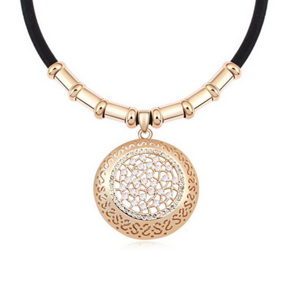 Emiliana - Swarovski Crystal Gold Disc Choker Necklace - LA MIA CARA JEWELRY - 1