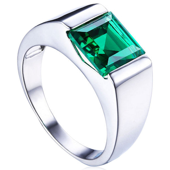 Men's Jewelry- Esperanza - Emerald Sterling Silver Men Ring- La Mia Cara Jewelry