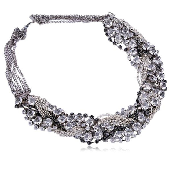 Estella - Stainless Steel with Clear & Black Crystals Statement  Necklace - LA MIA CARA JEWELRY
