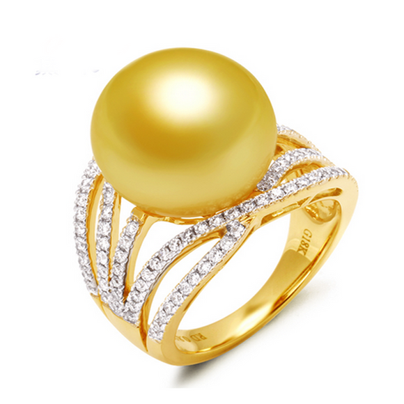 Solitaire Ring -Perla Éternelle - South Sea Pearl Diamond Gold Ring - LA MIA CARA JEWELRY