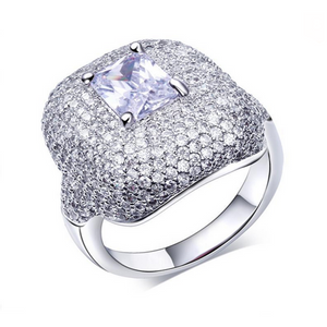 Cocktail Ring - Étoilée - CZ Diamond Platinum Ring - La Mia Cara Jewelry
