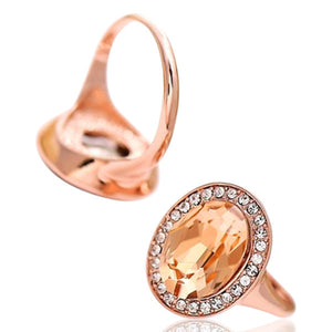 Statement Ring - Fabiola - Blue or Champagne Rose Gold Ring - La Mia Cara Jewelry