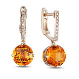 Favo - Citrine Diamond Rose Gold Earring - LA MIA CARA JEWELRY - 1