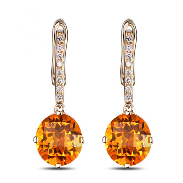 Favo - Citrine Diamond Rose Gold Earring - LA MIA CARA JEWELRY - 2