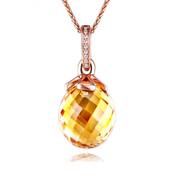 La Mia Cara Jewelry - Favo - Citrine Diamond Rose Gold Pendant