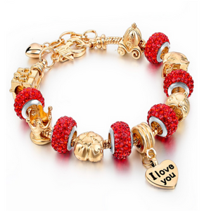 La Mia Cara Jewelry - Felicita Red - 18 Variants of Murano Glass Beads Gold / Silver Heart Charm Bracelet