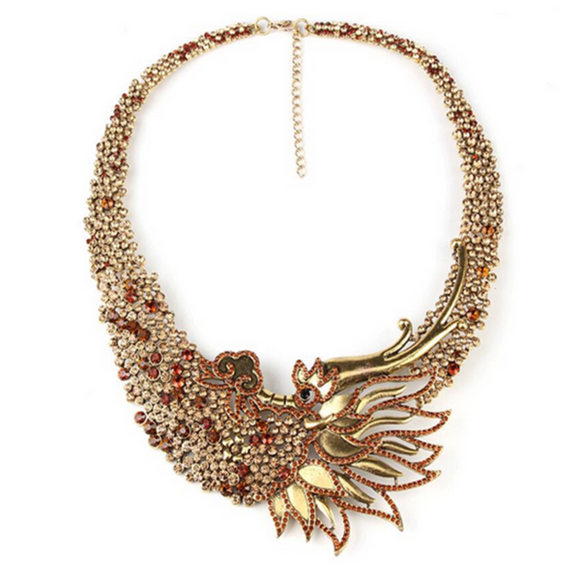 Fenice Dalle Ceneri - Rising Phoenix Style Vintage Statement Necklace - LA MIA CARA JEWELRY - 3