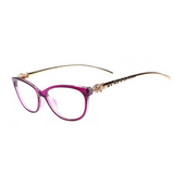 La Mia Cara  - Firenze Purple - Cat Eye Reading Glasses with Elegant Golden Leopard Frame