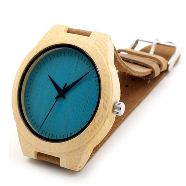 Fitore - Wood Bamboo with Blue or Yellow Design  Leather Wristwatch - Unisex - LA MIA CARA JEWELRY - 1