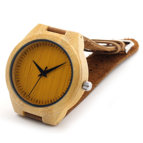Fitore - Wood Bamboo with Blue or Yellow Design  Leather Wristwatch - Unisex - LA MIA CARA JEWELRY - 2