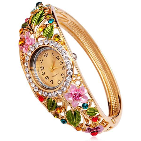 Floreale - 4 Colors Crystal Flower Gold  Bracelet  Quartz Watch - LA MIA CARA JEWELRY - 1