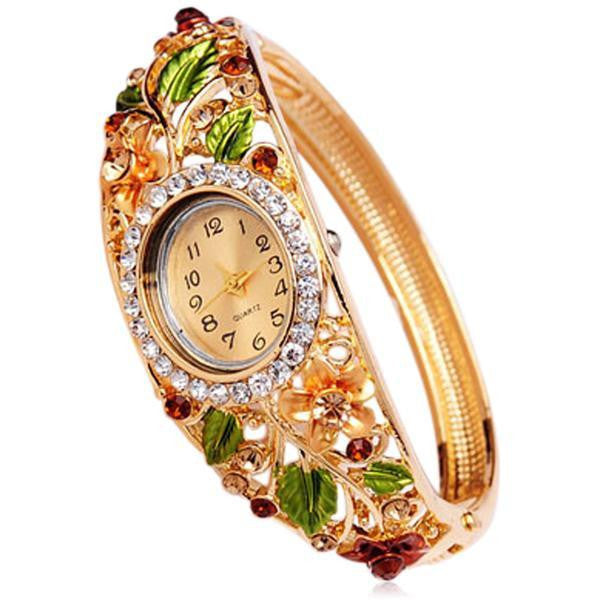 Floreale - 4 Colors Crystal Flower Gold  Bracelet  Quartz Watch - LA MIA CARA JEWELRY - 2